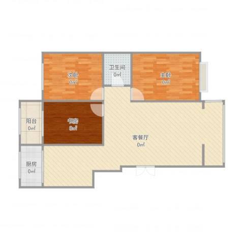锦华名苑3室2厅1卫1厨108.00㎡户型图