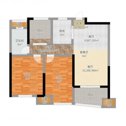 昆山颐景园2室2厅1卫1厨106.00㎡户型图
