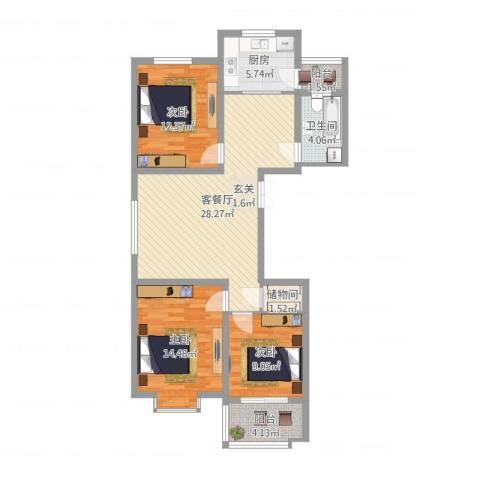 建邦・向�院3室2厅1卫1厨117.00㎡户型图