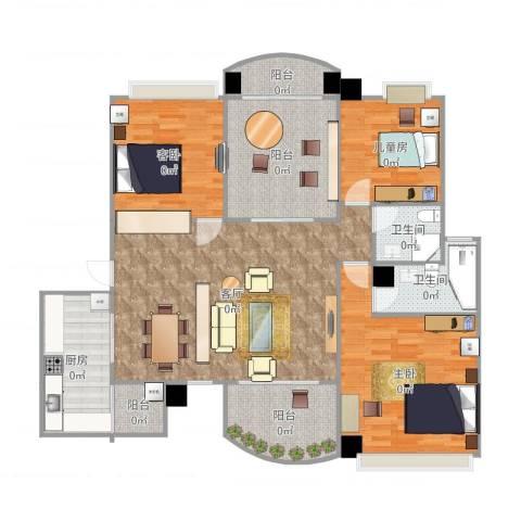 咸宁碧桂园3室1厅2卫1厨146.00㎡户型图