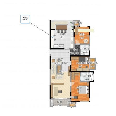 保利东湾国际3室1厅2卫1厨145.00㎡户型图