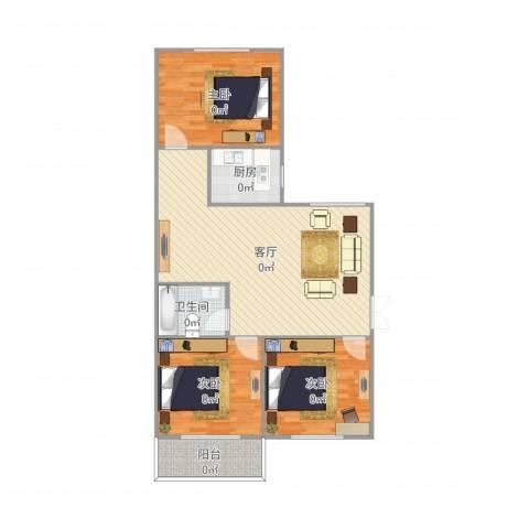 侨建花园3室1厅1卫1厨106.00㎡户型图
