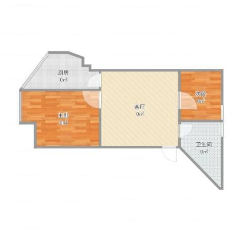 宝业桐城绿苑2室1厅1卫1厨56.00㎡户型图