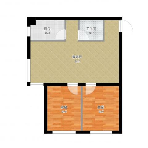博信双E港2室2厅1卫1厨68.00㎡户型图