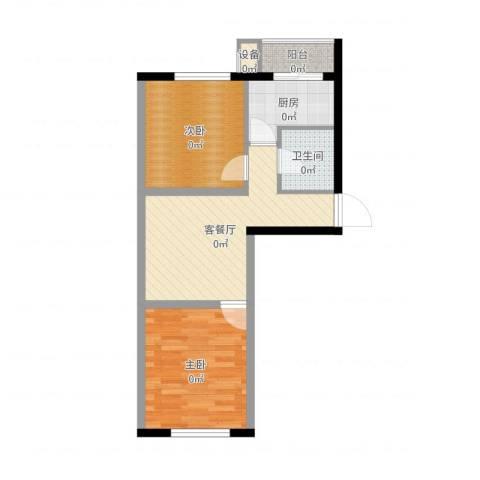 博信双E港2室2厅1卫1厨57.00㎡户型图