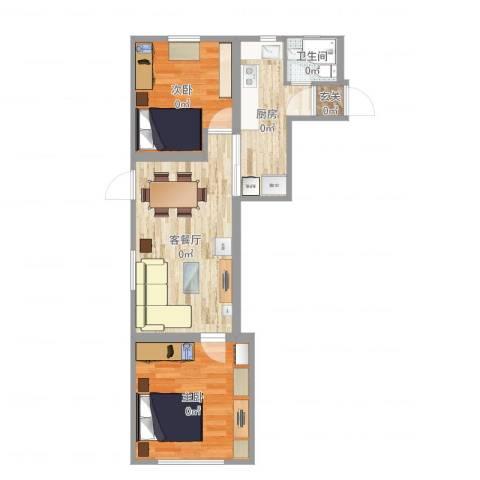 上钢5村2房实际尺寸2室2厅1卫1厨61.00㎡户型图
