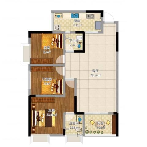 奥兰半岛13-6-13室1厅2卫1厨108.00㎡户型图
