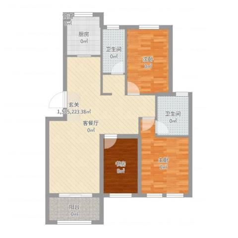 星科印象3室2厅2卫1厨98.00㎡户型图