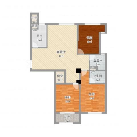 绿城皇冠花园3室2厅2卫1厨119.00㎡户型图