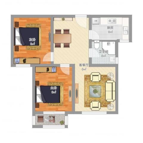 宁东家园2室2厅1卫1厨77.00㎡户型图