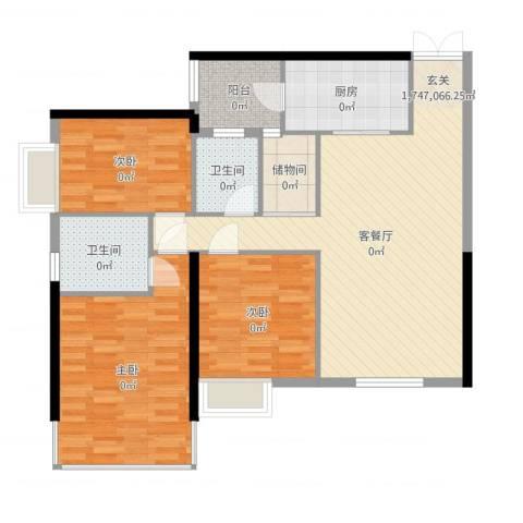 中怡城市花园3室2厅2卫1厨114.00㎡户型图