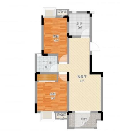 紫金上河苑2室2厅1卫1厨76.00㎡户型图