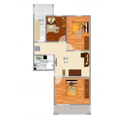 西井四区3室1厅1卫1厨72.00㎡户型图