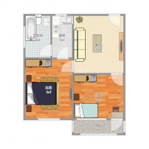 天华苑2室1厅1卫1厨60.00㎡户型图