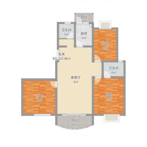 金色水岸花园3室2厅2卫1厨132.00㎡户型图