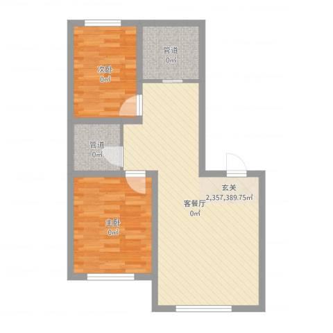 东地华庭2室2厅1卫1厨70.00㎡户型图