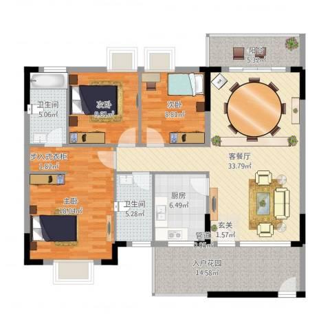 三正世纪新城3室2厅2卫1厨146.00㎡户型图