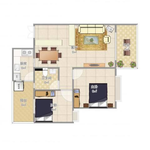 万威美地2室1厅1卫1厨87.00㎡户型图