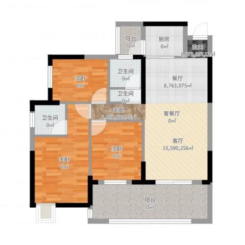 丽水康城(二期)3室2厅3卫1厨96.00㎡户型图