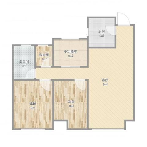 曦城花语2室1厅2卫1厨88.00㎡户型图