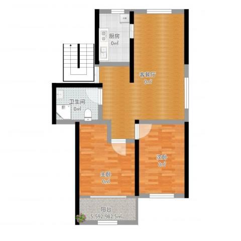 银桥花苑2室2厅1卫1厨79.00㎡户型图