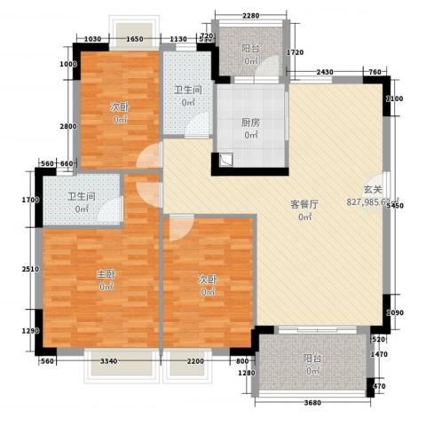 丰泰东海山庄3室2厅2卫1厨118.00㎡户型图
