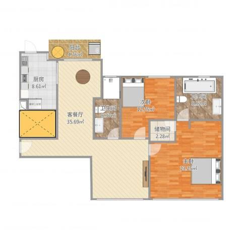 上海滩大宁城2室2厅2卫1厨131.00㎡户型图