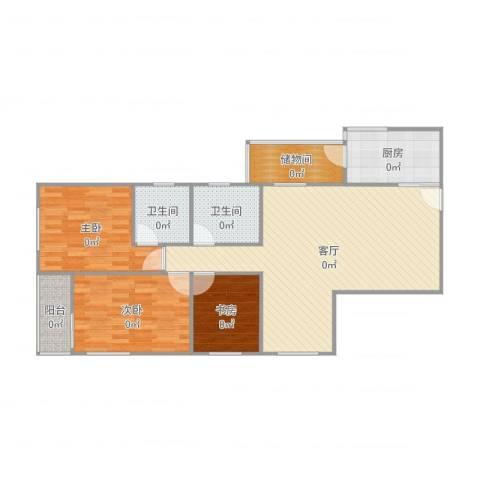 南航新村3室1厅2卫1厨104.00㎡户型图