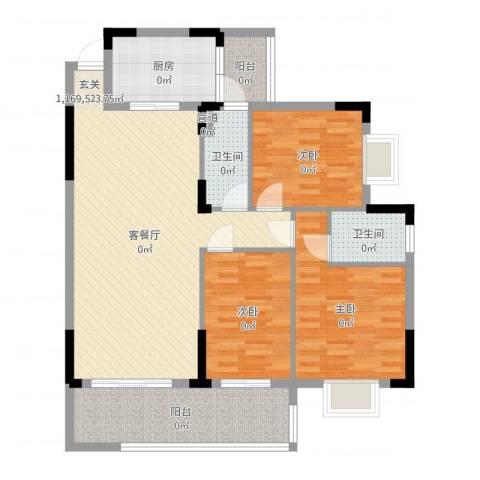 朗晴轩3室2厅2卫1厨112.00㎡户型图