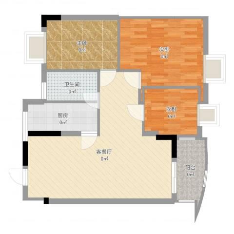 丽水湾3室2厅1卫1厨72.00㎡户型图