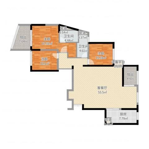 新地中心3室2厅2卫1厨176.00㎡户型图
