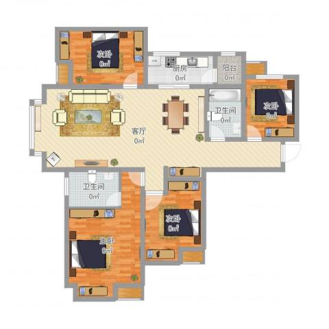 富力新城4室1厅2卫1厨151.00㎡户型图