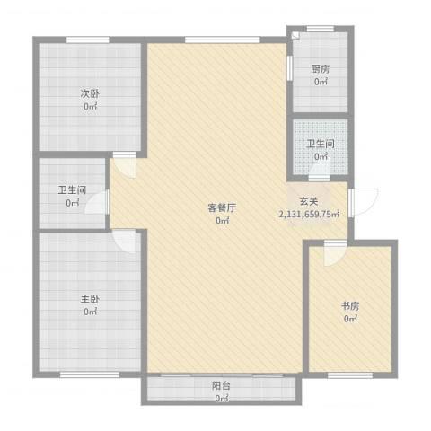 鹿鸣苑3室2厅2卫1厨138.00㎡户型图