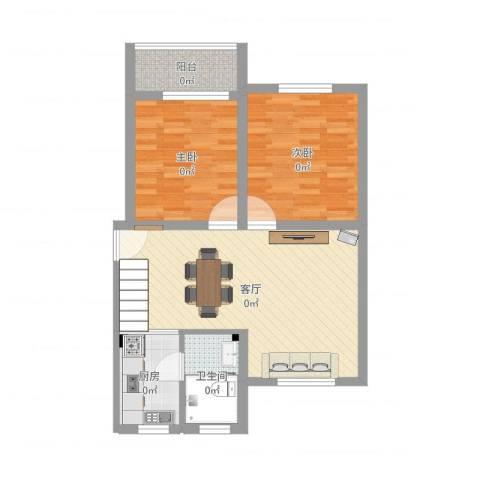 鸿基公寓2室1厅1卫1厨81.00㎡户型图