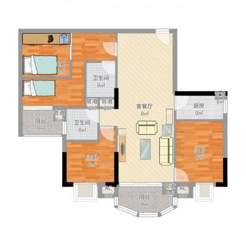 富邦名寓3室2厅2卫1厨98.00㎡户型图