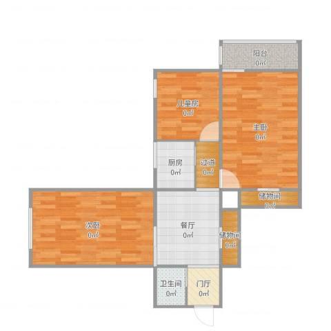 西便门东里3室1厅1卫1厨82.00㎡户型图