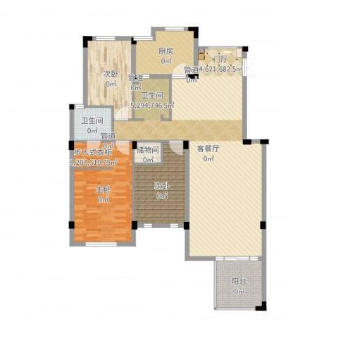 长城珑湾3室2厅3卫2厨144.00㎡户型图