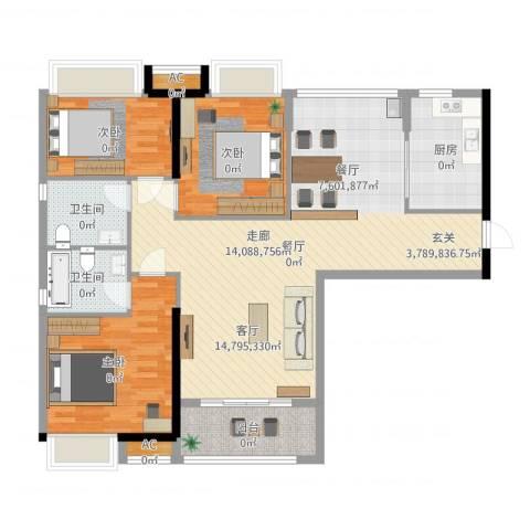 港湾江城3室1厅2卫1厨124.00㎡户型图