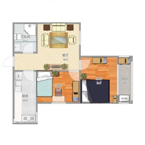 八府庄小区2室1厅1卫1厨65.00㎡户型图