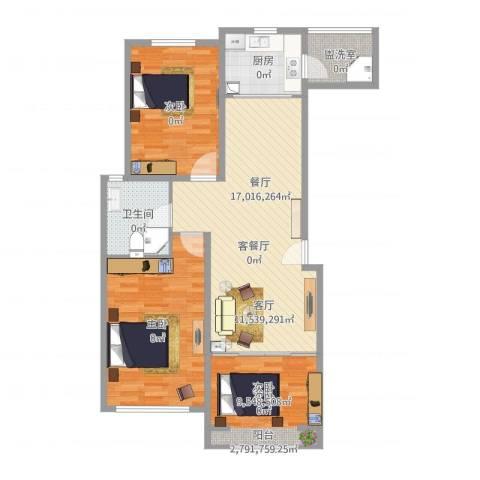 奥体新城3室4厅1卫1厨101.00㎡户型图