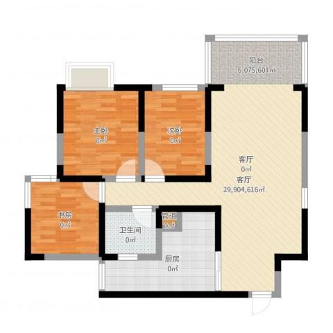 峰度天下3室1厅1卫1厨92.00㎡户型图