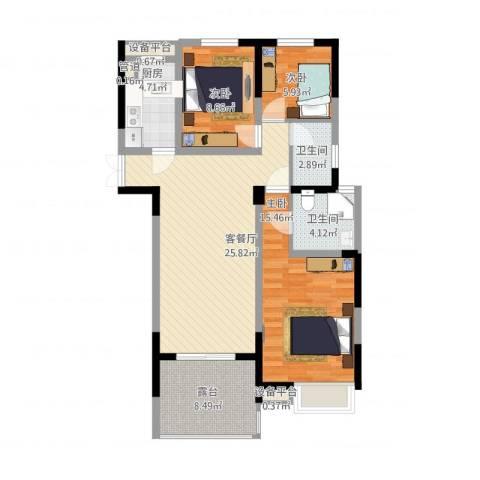 国耀花半里3室2厅2卫1厨112.00㎡户型图