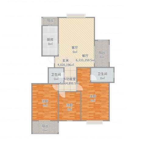 如意花园3室1厅2卫1厨145.00㎡户型图
