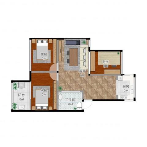 梅沁园3室1厅1卫1厨54.49㎡户型图