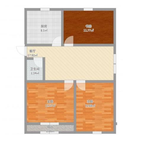百通兴隆家园3室1厅1卫1厨77.70㎡户型图