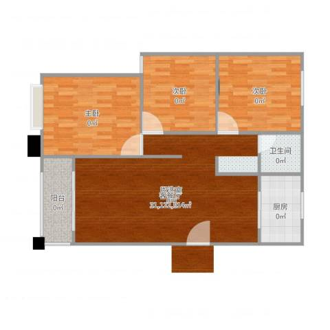 天鹅湾国际滨水社区3室2厅1卫1厨92.00㎡户型图
