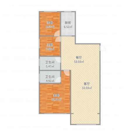 张杨花苑17号楼3室1厅2卫1厨143.00㎡户型图