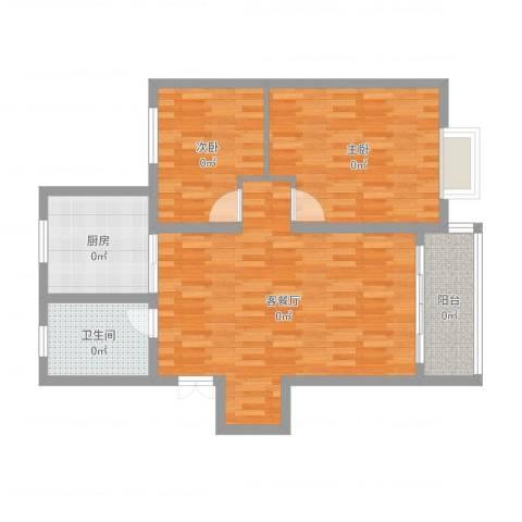 汤巷馨村2室2厅1卫1厨86.00㎡户型图