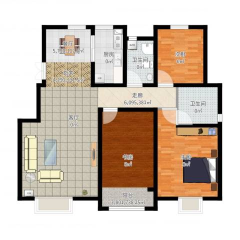 首创康桥郡3室1厅2卫1厨135.00㎡户型图