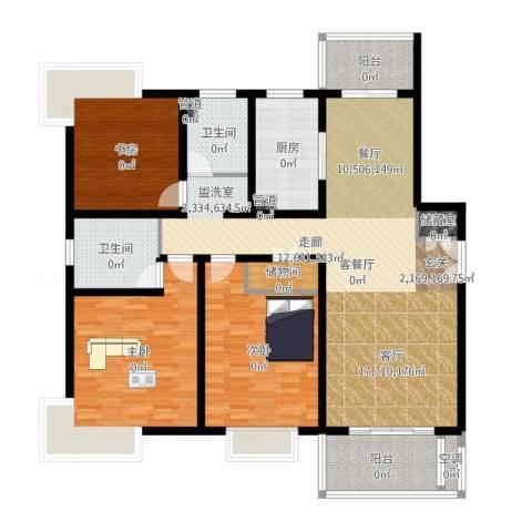 东方听潮豪园3室2厅2卫1厨153.00㎡户型图